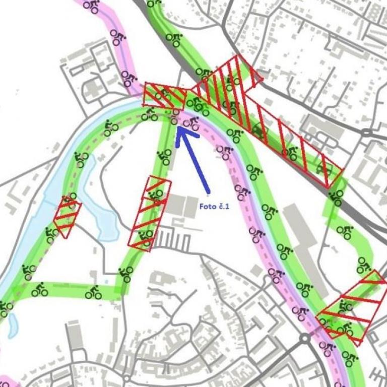 Úseky, ktoré sú na mapách označované ako cyklotrasy, ale fyzicky v teréne nimi nie sú